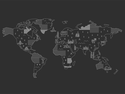 World map with famous landmarks building continents attractions lineart europe landmarks map world vector