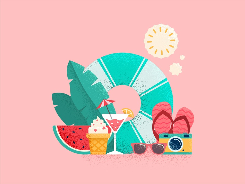 Summer Time icecream relax cocktail travel icon vocation tropic beach summer vector