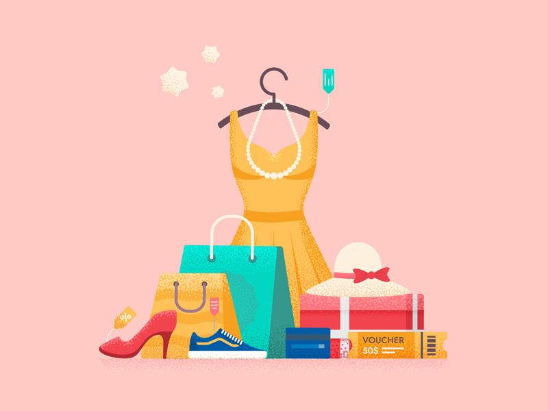 Shopping shopping bag texture shopping mall gift discount sale coupon vector