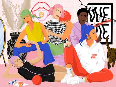 We is more than me design woman color artwork art female support illustration women