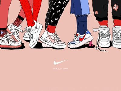 The Force Is Female female illustrator vector editorial art shoes illustration nike women nike the force is female