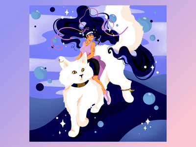 Smooth Cat Rider blue modern art girlpower josephinerais grain cat girl illustrator illustration catrider