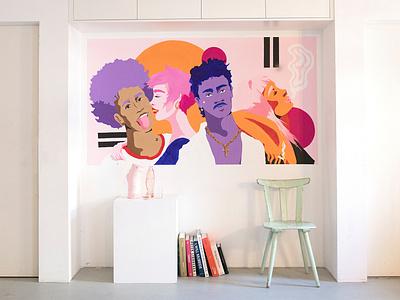 Chilling Millennials people wandbild pink girl fashion female muralart mural modern art josephinerais illustrator illustration