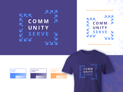 Community Serve logo design t-shirt design t-shirt color palette minimalist logo ministry community logo unity direction arrows serve community christianity christian design christian logo christian church branding church design church church logo