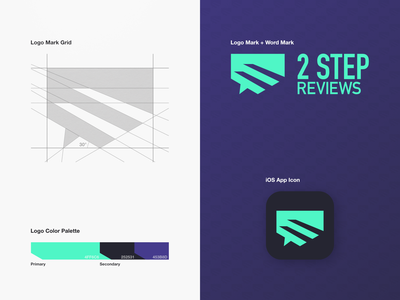 2 Step Reviews - Logo Design application ui app chat bubbles chat icon steps logo grid grid logo logotype mark brand design brandmark logo mark negative space geometric logo logo designer logo design app icon icon