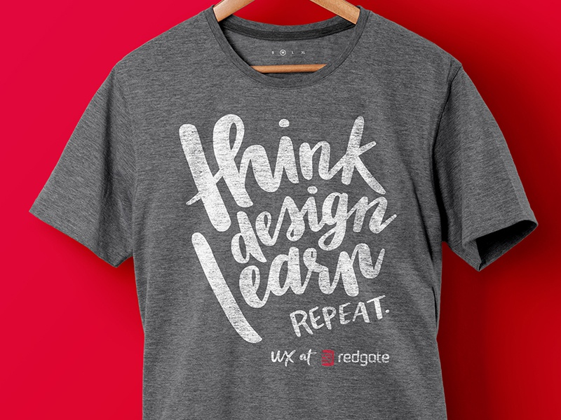 Think Design Learn Repeat conference typography hand lettering tshirt