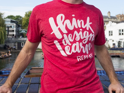 Think Design Learn Tees conference typography hand lettering tshirt