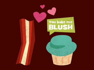 You Bake Me Blush cupcake illustration bacon treehouse