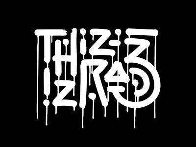 Thiz iz Raz Drip lettering calligraphy brush logo