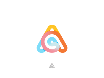AC Logo a gradient symbol lettermark identity lineart logo design monoline infinite acronym colorful logo