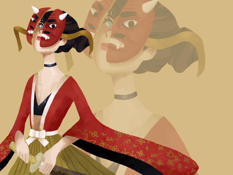 Fight ! mask japan fight digital art illustration art digital drawing digital illustration character illustration drawing