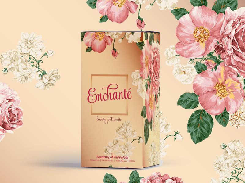 Enchante Box Square Copy typography floral art packaging design packaging mockup branding