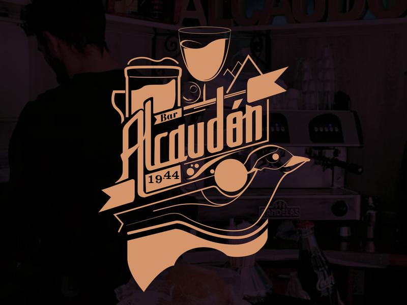 Bar Alcaudon icono tipografía logo marca ilustración diseño