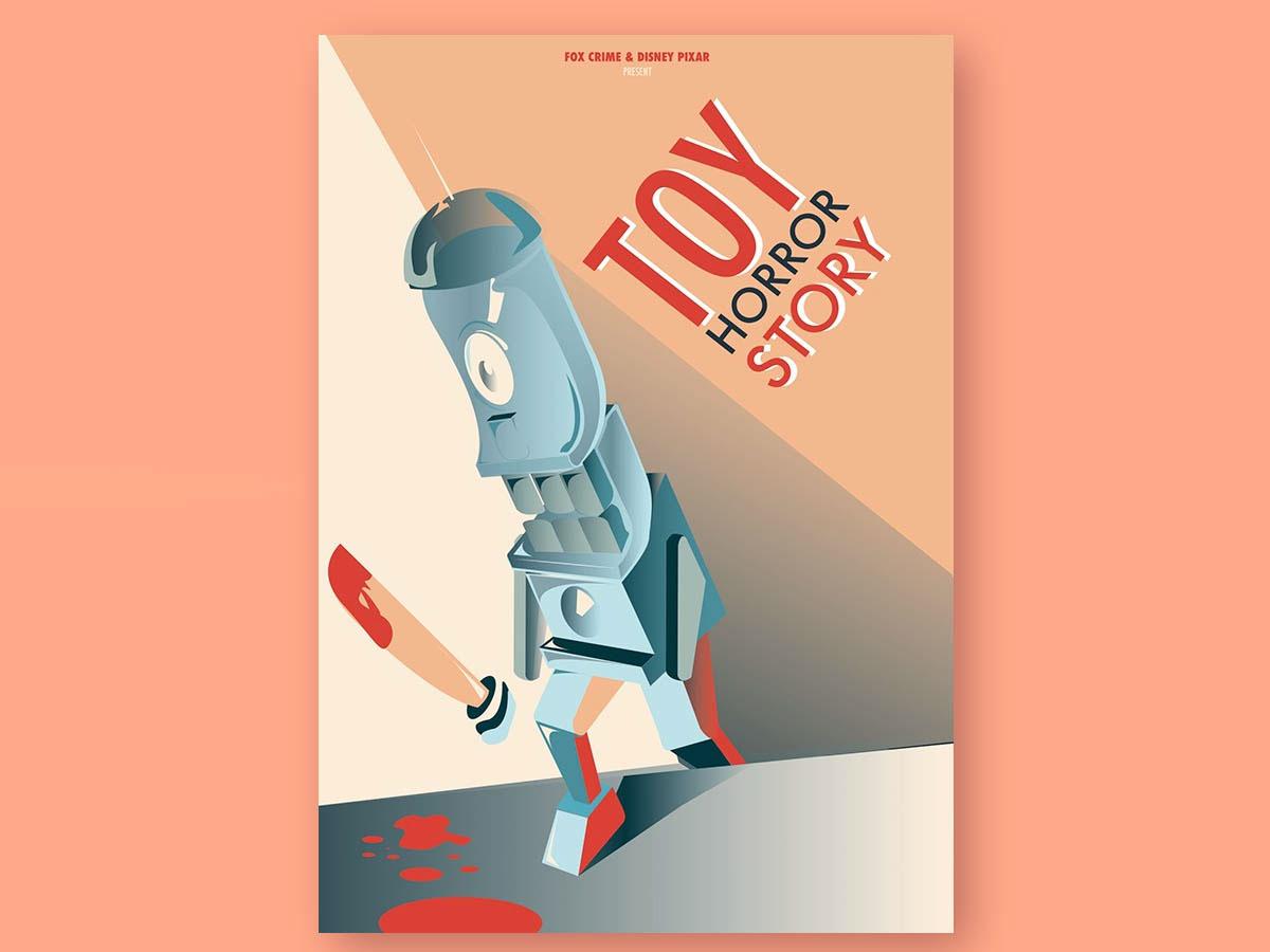 Toy horror robot machine vector color ilustración
