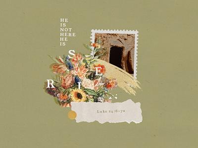 Luke 24:6-7a brush risen collage layout wallpaper htbb easter bible verse design christian