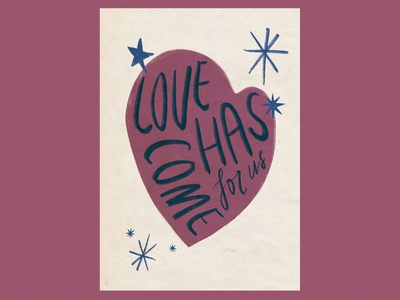 Love has come procreate illustration calligraphy handwritten christian design crimson jesus god heart love christmas love has come