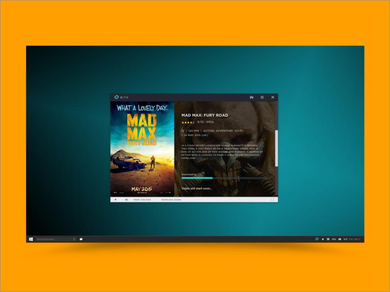 BitX - Loading Movie ux design windows app desktop ui identity branding design