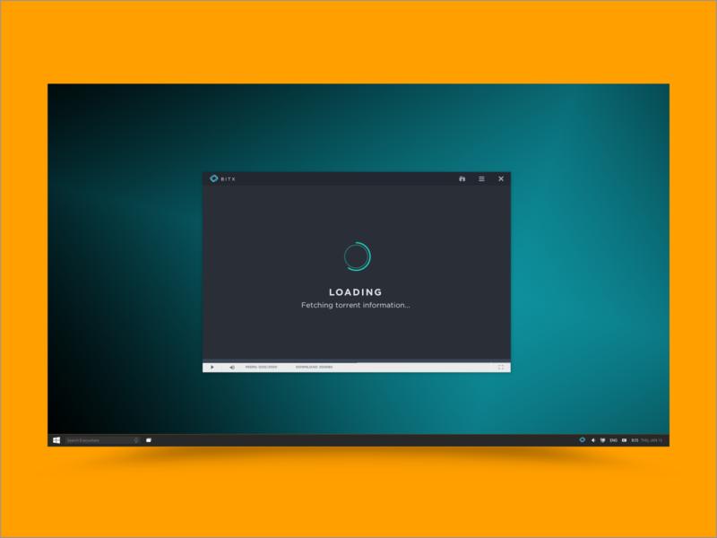 bitx - Fetching Torrent logo web flat ui  ux app windows design branding ui design ui