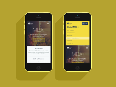 Home & menu mockup home menu mobile mockup flat yellow splash imagen background