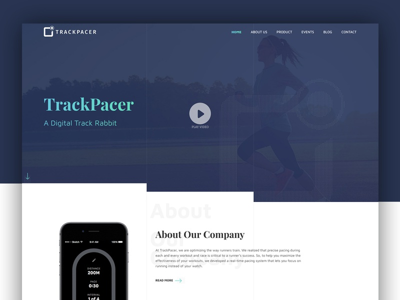 TrackPacer – A Digital Track Rabbit Website Design pacing system pace user interface health running fitness digital track website ux ui theme landing