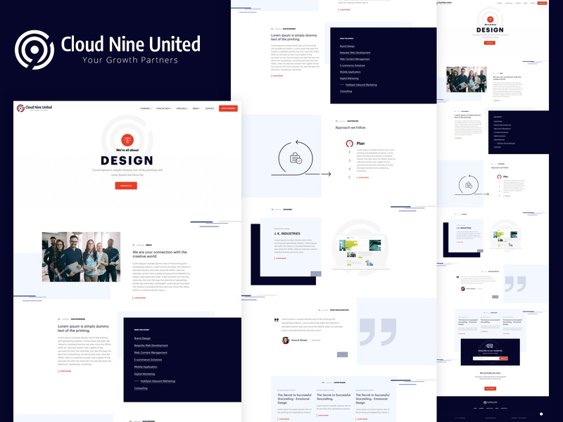 Cloud Nine United Homepage Concept uk london landing page theme clean minimal interface grid design concept brand web agency layout ux ui homepage