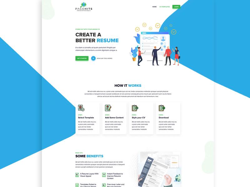 Page Hits - Resume Builder Landing page Mockup resume builder landing page resume design cv resume cv ux ui landing