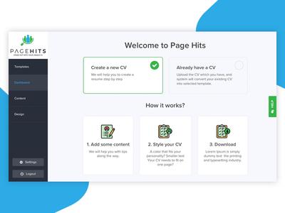 Dashboard design for resume builder website