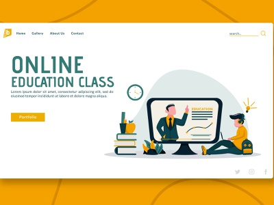 Online Education Class - Landing Page illustration design web yellow education class online landing page