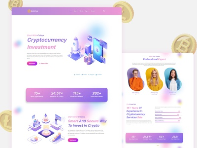 Coinyx - Cryptocurrency Blockchain & Bitcoin Elementor Template illustration branding logo investment coin design landing page website ux ui uiux webdesign web