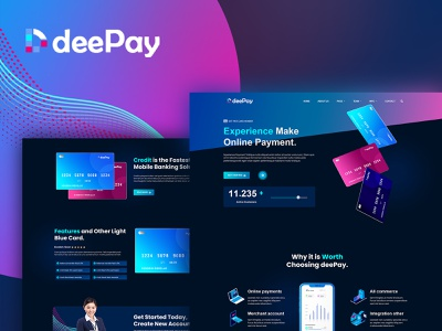 DeePay - Card Payment & Online Banking Elementor Template Kit payment homepage landing page uiux ui-ux ux ui elementor template webdesign website web