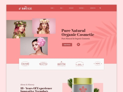 Drouge - Cosmetic Elementor Template Kit woman cosmetic pink ux ui business elementor web design web theme website web template kit