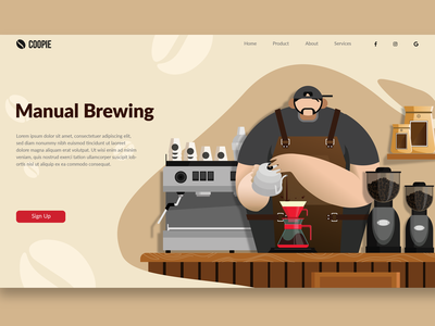Manual Brew Coffee - Landing Page Ilustration