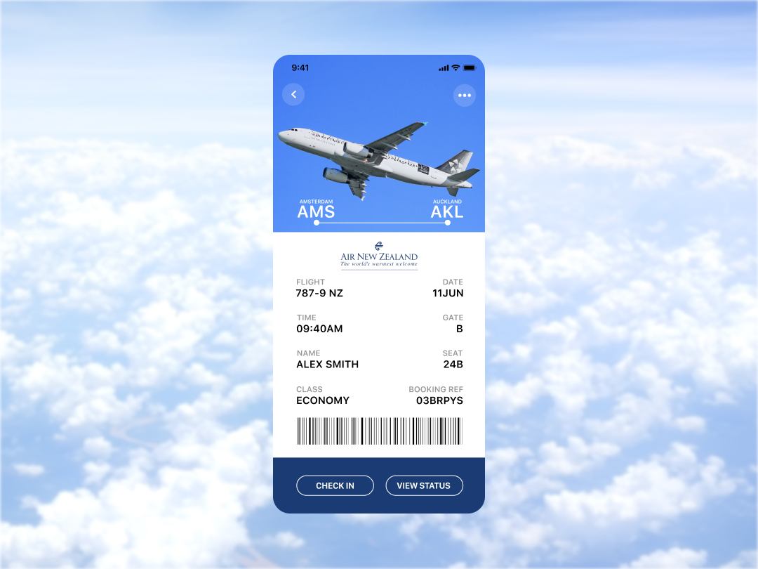 Daily UI Challenge #24 Boarding Pass fly dashboard app speedyg0nzalesart auckland blue new zeland clouds ticket amsterdam ui mobile ios flight airline airplane air pass boarding dailyui