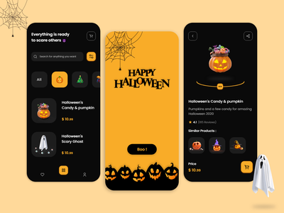 Halloween Store darkui dark halloween party uidesign uiux ui design app halloween design ui halloween