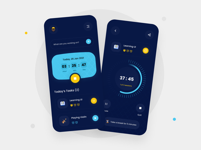 Pomodoro & Time Tracker Application dark ui mobile ui ui design concept mobile uidesigner time tracker pomodoro dark uidesign application uiux app clean design ui