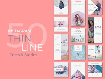 Instagram Posts&Stories - Thin Line
