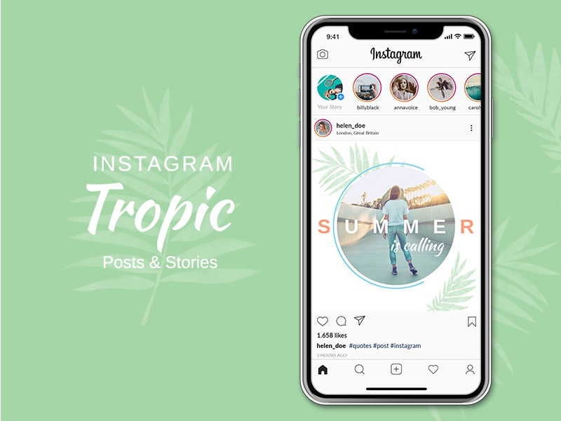 Instagram Posts & Stories - Tropic stories instagram stories instapost instagram template instagram post template instagram post instagram pack instagram insta fashion fashion sale discount deal clean business blogger blog multipurpose banners banner