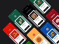 Fast Food 🍔🍕🍩 burger king subway kfc starbuck coffee ios drinks food delivery concept clean cards mcdonalds food app ui food