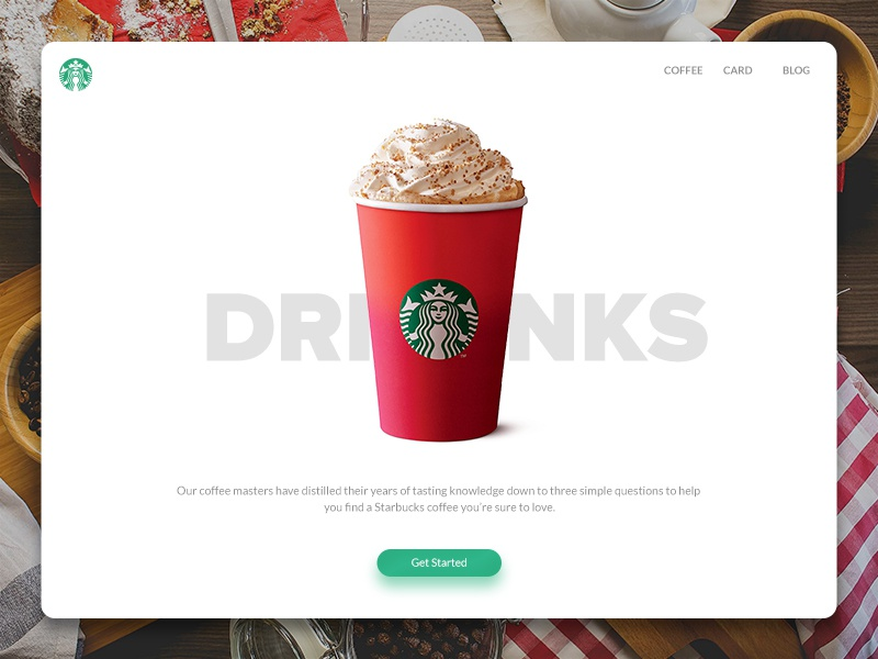 Starbucks Redesign - Drinks starbucks landingpage starbuckslover coffee redesign web