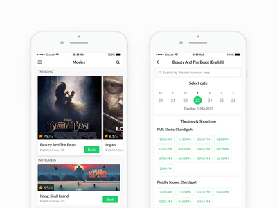 Movie Tickets Booking calander tickets booking minimal white ux ui app ios movies