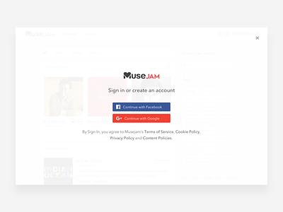 Musejam - Login events google facebook genre artists login design ux ui music