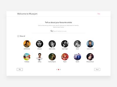 Musejam - Onboarding (Artists) events genre artists login design ux ui music