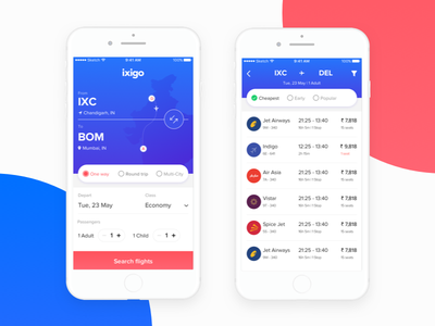 Ixigo - Flight Booking travel mobile minimal flight booking ux ui app ios