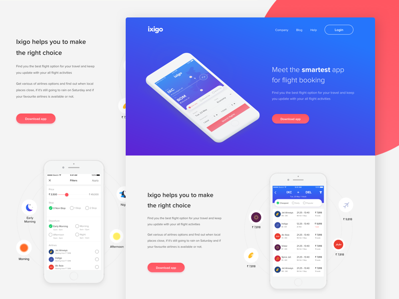 Ixigo - Flight Booking (Landing Page) page landing travel mobile minimal flight booking ux ui app ios