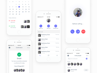 Conference App ux ui videocall schedule calling mobile meeting conference calendar ios app agenda