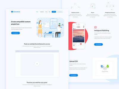 Statusbrew - Publish Landing Page design media social layout website ux ui page landing