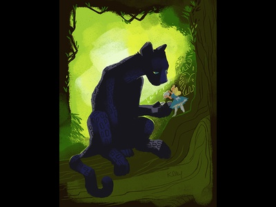 Tea with a Panther color key concept art vintage disney mary blair retro black panther jungle jungle book alice in wonderland