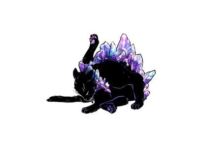 Gemstone Grooming creature wicca magical witch goth kitty black cat purple crystal quartz gemstone