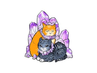 Hangry Cat Children amethyst diamond natural texture crystal gemstone tabby kitty cat