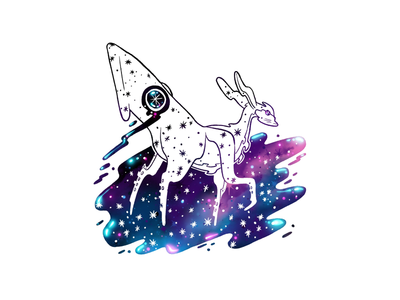 Squideer pen and ink colorful magical sparkly galaxy lineart buck faun deer squids